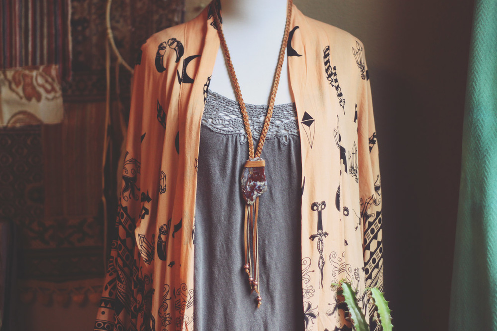 Roots and Feathers Deersking and Crazy Lace Agate Necklace