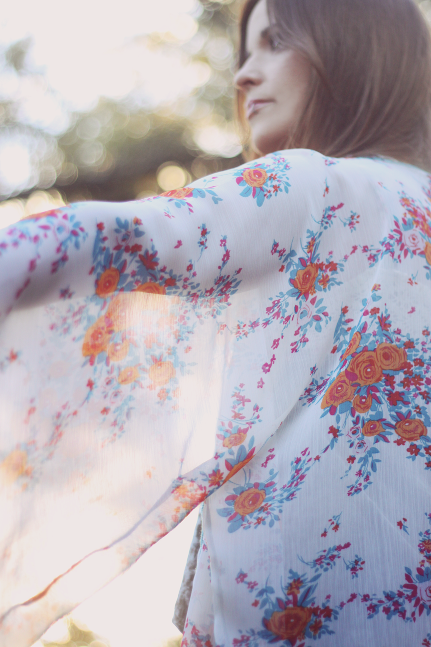 Mandarin Orange Roses Kimono Outfit by Roots and Feathers