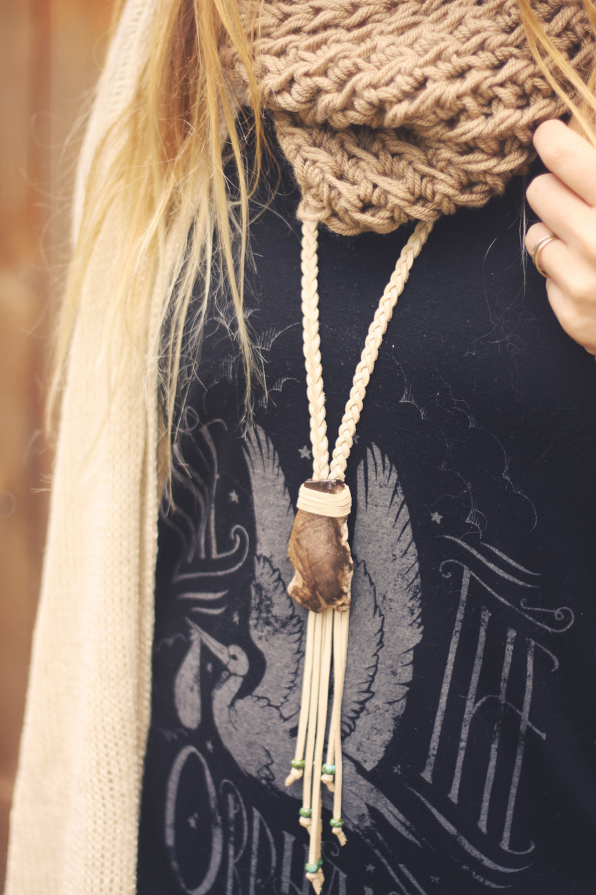 roots and feathers necklace