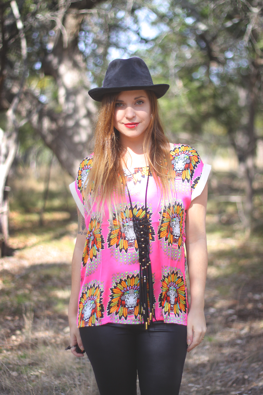 Pink and Black outfit on Roots and Feathers