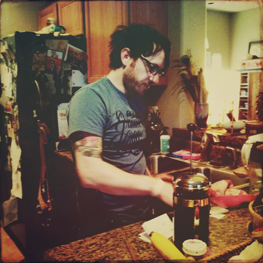 James made quite a few french press coffees... soo good.  And isn't his bedhead the cutest?