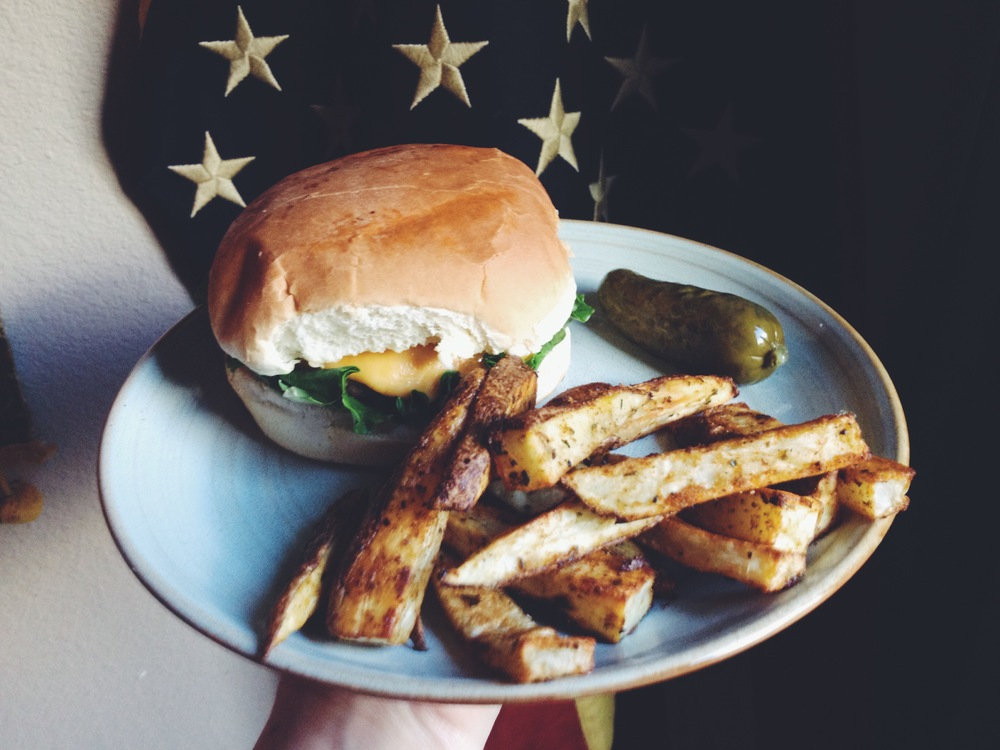 Homeade burgers and fries