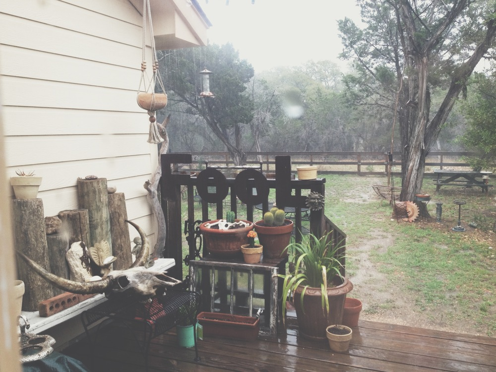 Raining on the porch