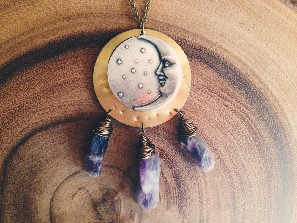 Roots and Feathers Moon & Amethyst Dreamcatcher Necklace
