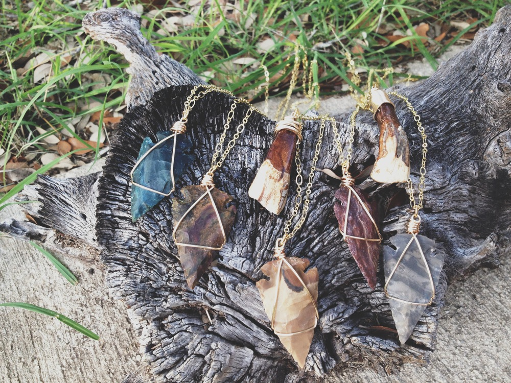 Roots and Feathers Wire Wrapped Arrowhead Necklaces