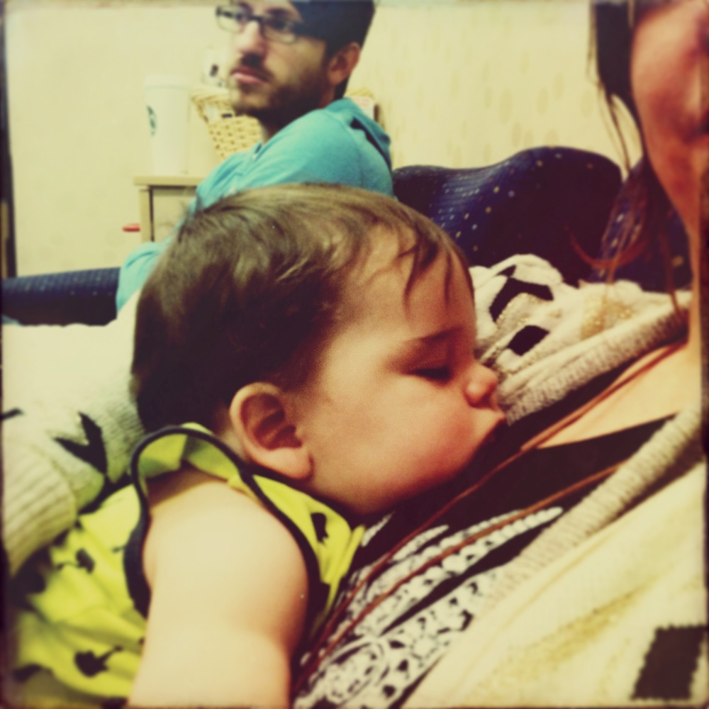 April 2014.  Spending a few days in Dallas while my besties girl had surgery, and having this little tot pass out on my chest.