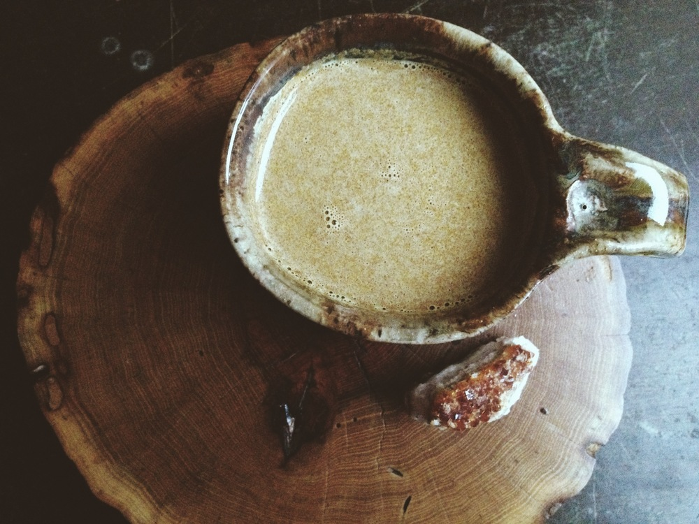 Golden Milk.  (wood slice by  Nature Bound )