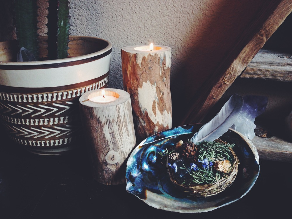 Pretty things.  Wood candle holders by  Nature Bound .