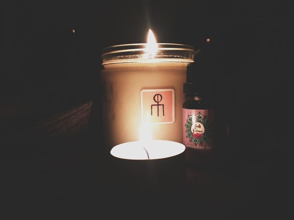 candle by morphologically // lavender oil by bali botanics