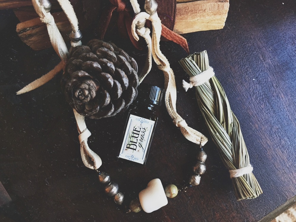 Blue Grass Perfume by Amrita Aromatics + Necklace by Spirit Tribe