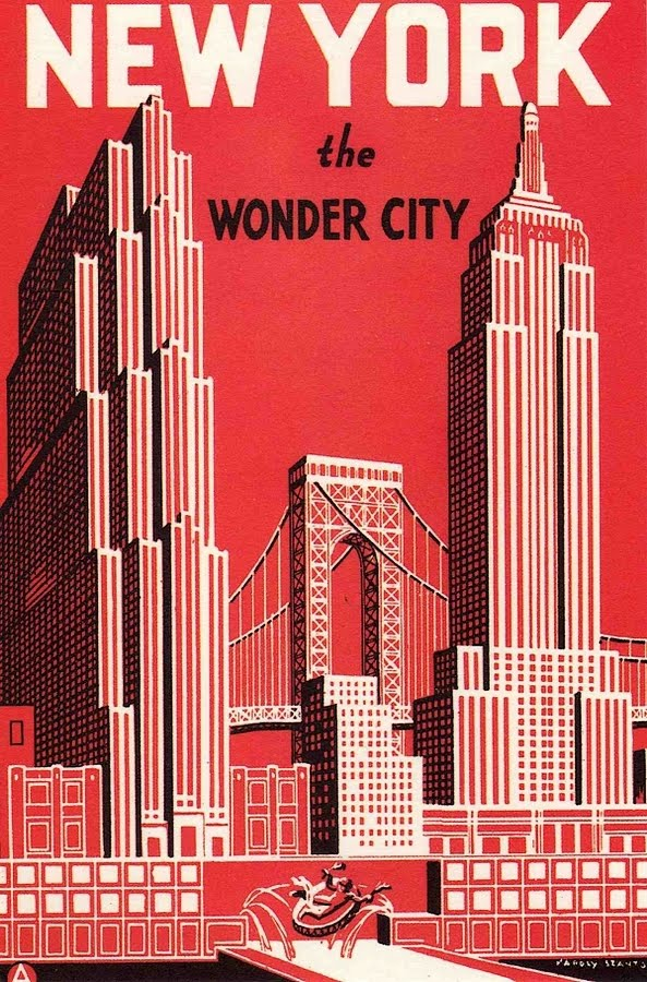 NEW YORK the WONDER CITY | vintage travel poster print | USA, America