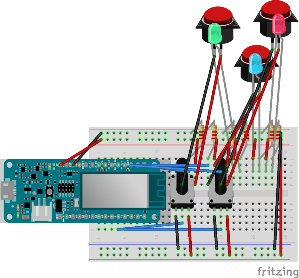 Fritzing Diagram of Breadboard and Arduino MKRZero