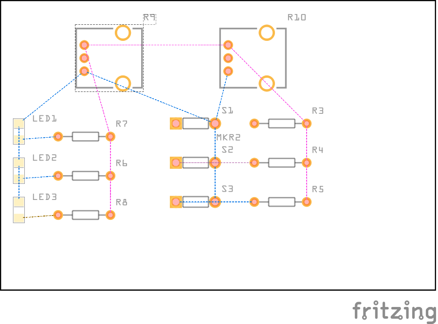 Fritzing Diagram of Buttons w/ LEDs, Potentiometers, and Resistors