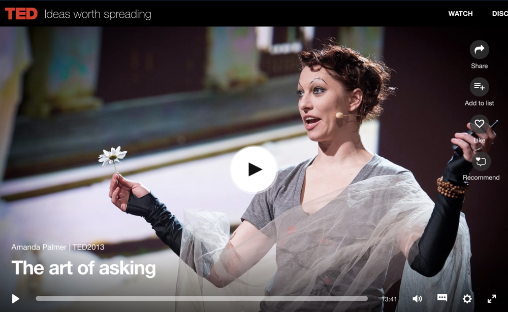 Amanda Palmer, The Art of Asking Ted Talk