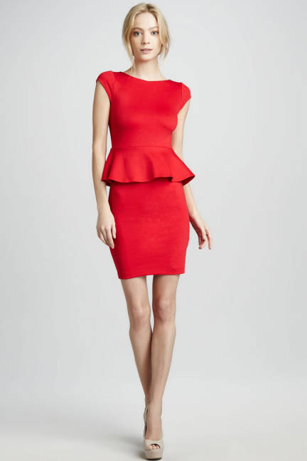 Alice Olivia, Red Peplum Dress. www.elle.com