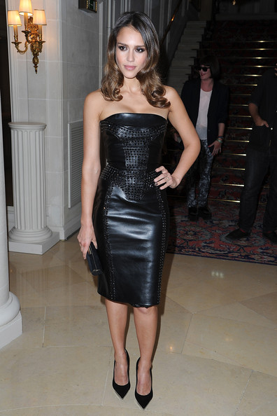 Jessica Alba in a Versace leather dress