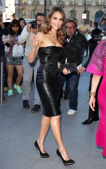 Jessica Alba in a leather dress