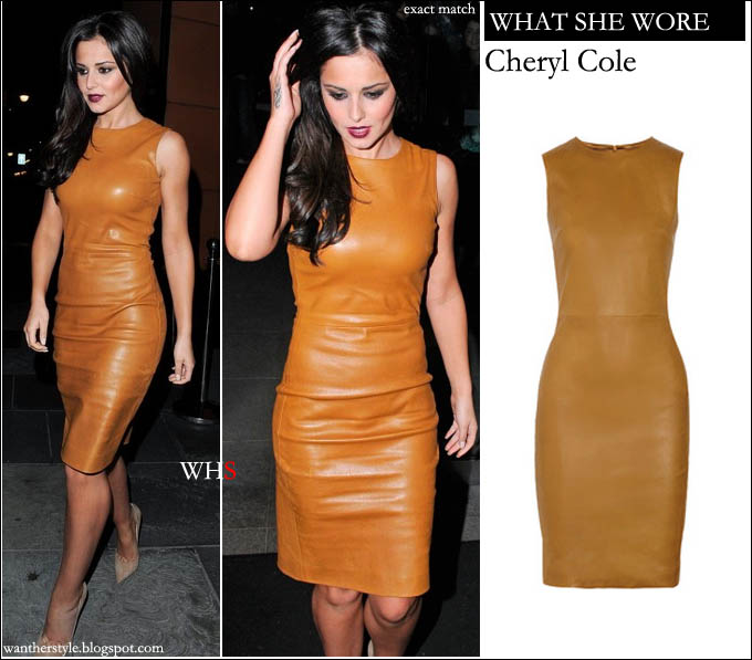 Cheryl Cole in a mustard caramel yellow leather sleeveles dress, The Row Dastuls stretch leather dress