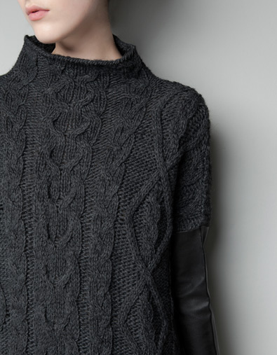 Sweater with faux leather sleeves - Zara