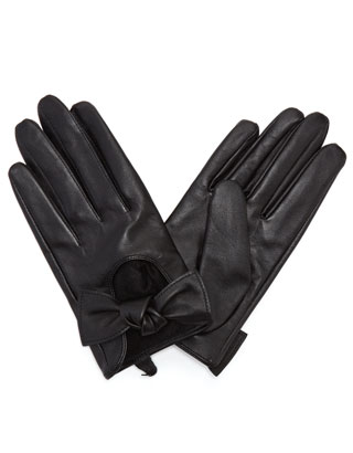 Knotted bow leather driving gloves, Accessorize