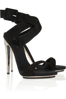 Giuseppe Zanotti, metal heel suede sandals