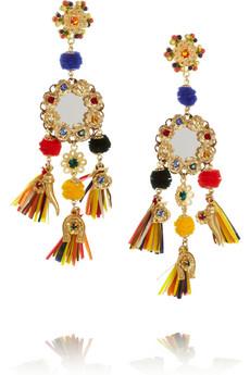 Dolce & Gabbana, tasseled crystal clip earrings