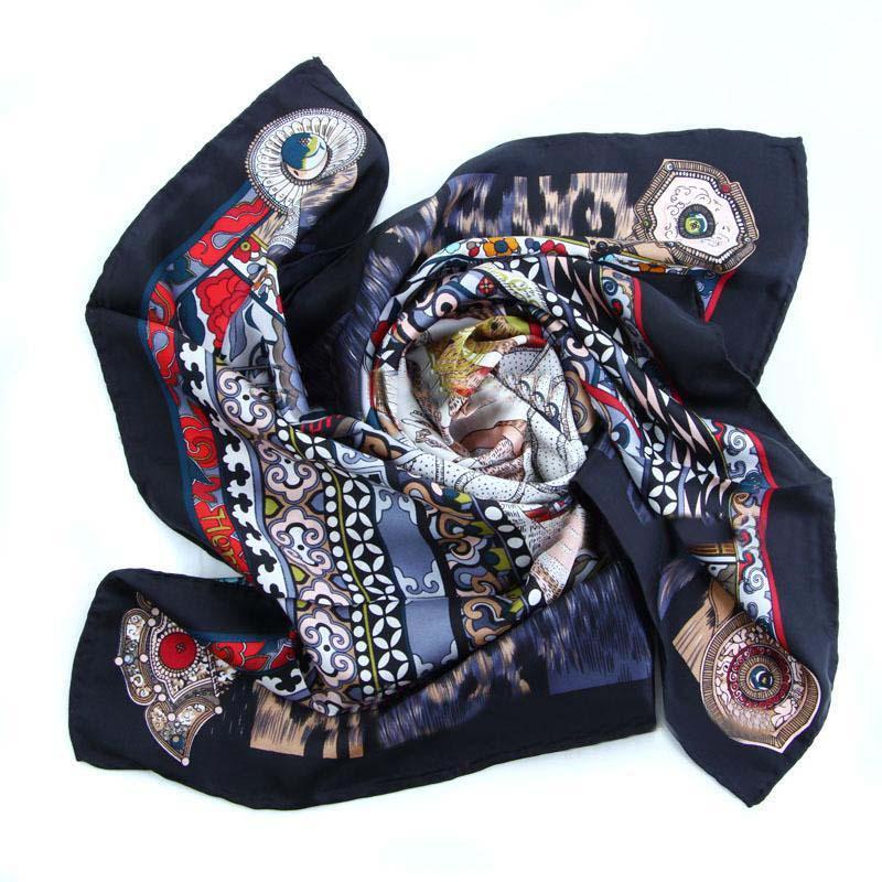 Hermes, sand floral print silk black scarf
