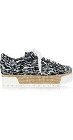 Kenzo: printed canvas & patenet-leather platfrom sneakers