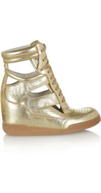 Marc by Marc Jacobs: cutout metallic leather wedge sneakers