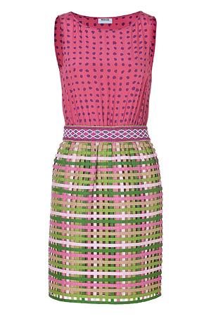 Moschino C&C, Cotton-Silk Bead Embellished Mixed-Media Dress
