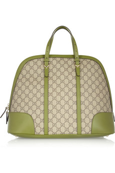 Gucci Leather trimmed canvas tote bag