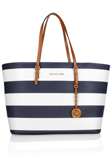 Michael Michael Kors Jet Travel medium striped textured-leather shopper bag