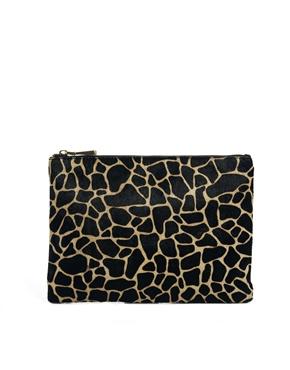 ASOS - leather clutch with faux pony giraffe print