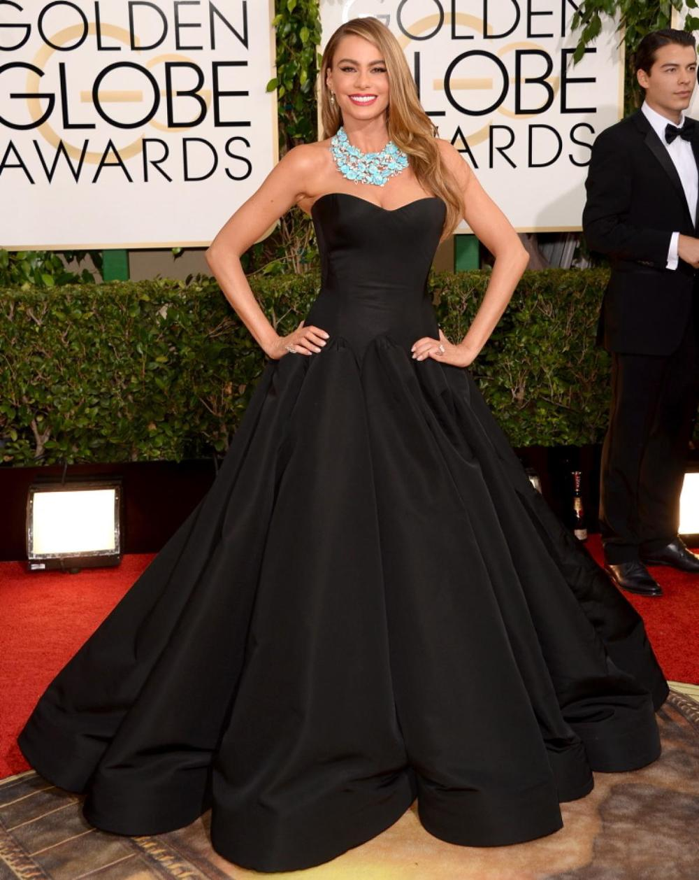 Sofia Vergara in black Zac Posen gown!