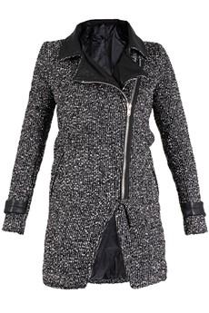 SWEEWË BANDA Tweed Black Zip Front Coat
