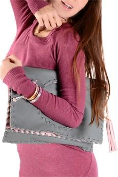 ELEANNA KATSIRA KERIN Elephant Grey Leather Crossbody Bag