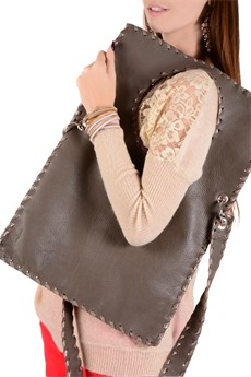 ELEANNA KATSIRA KERIN Taupe Leather Crossbody Bag