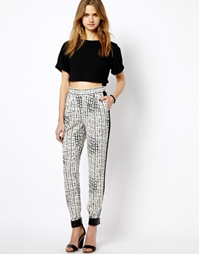 Vila Checked Panel Side Trousers - ASOS