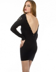 Πλεκτό φόρεμα με ανοιχτή πλάτη & πέρλες