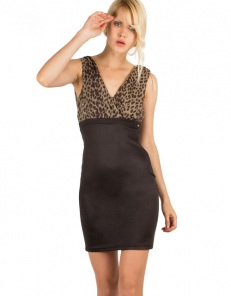 Φόρεμα με λεοπάρ μπούστο