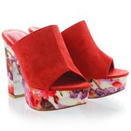 FRANCESCO MILANO-PRIMAVERA Red Floral Sandals