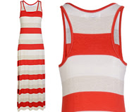 CARLOS MIELE STRIPED  Red and Beige Maxi Dress