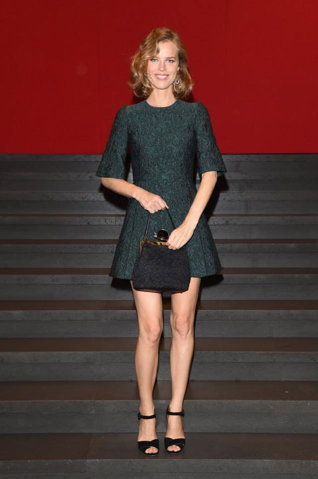 Eva Herzigova wearing Dolce&Gabbana to the Dolce&Gabbana show during the Milan Fashion Week Womenswear SS15 on September 21, 2014..jpg