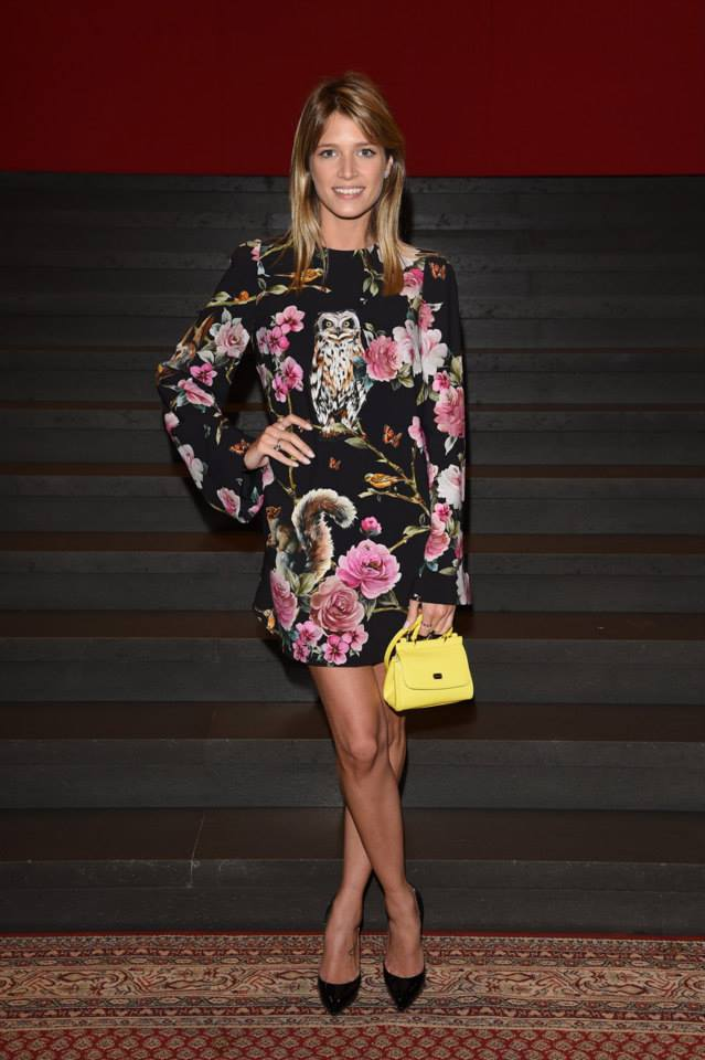 Helena Bordon wearing Dolce&Gabbana to the Dolce&Gabbana show during the Milan Fashion Week Womenswear SS15 on September 21, 2014.jpg
