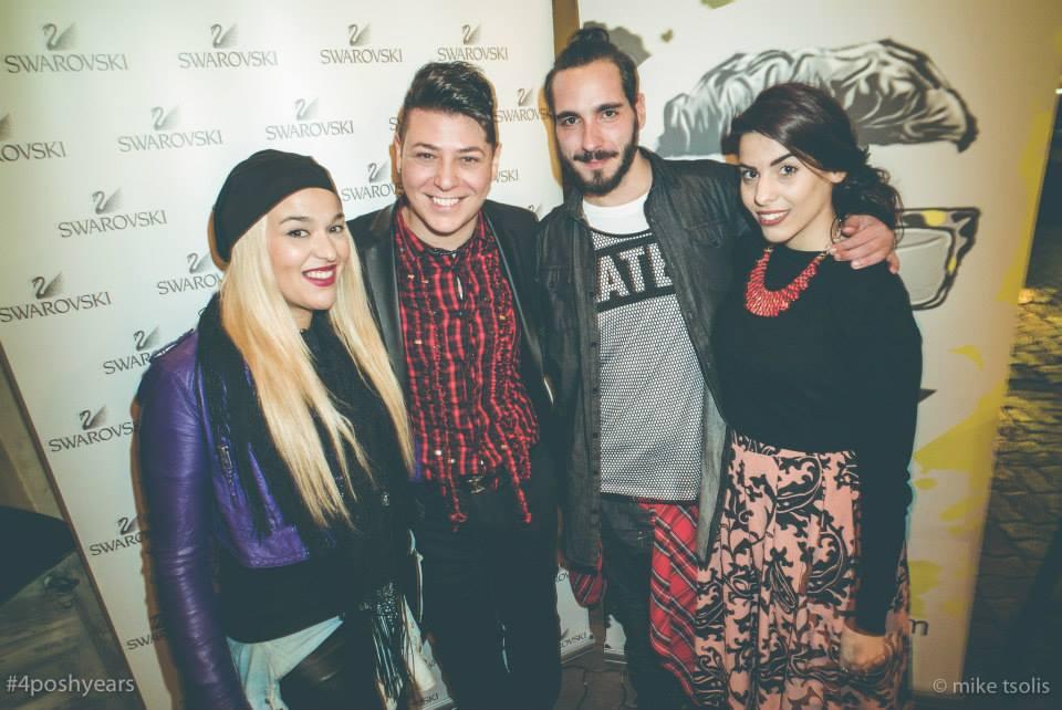 (από αριστερά) Μήτση Σιούτα ιδιοκτήτρια του fashion addicted, Τάσος Λαζαρίδης, Νικόλαος Παπαζήσης και Jiorjia Jester