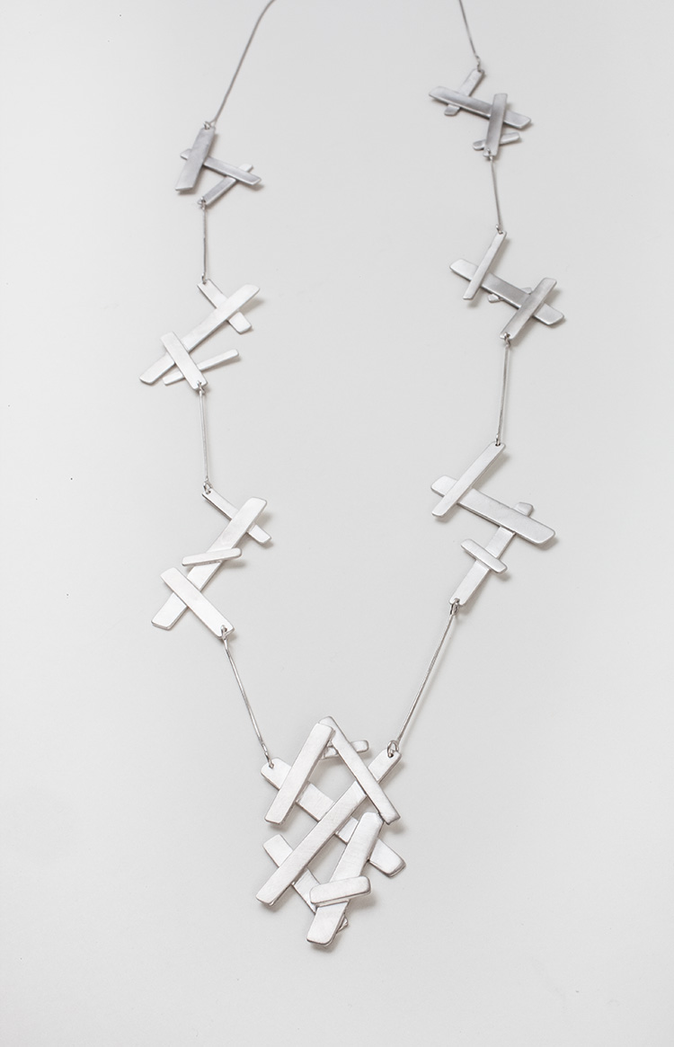 """""""Fragments of Amphipolis """" platinum plated silver necklace"""