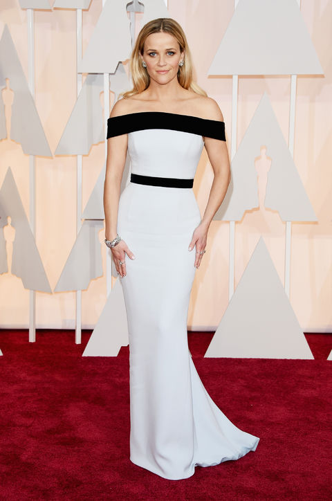Reese Witherspoon in  white strapless Tom Ford gown