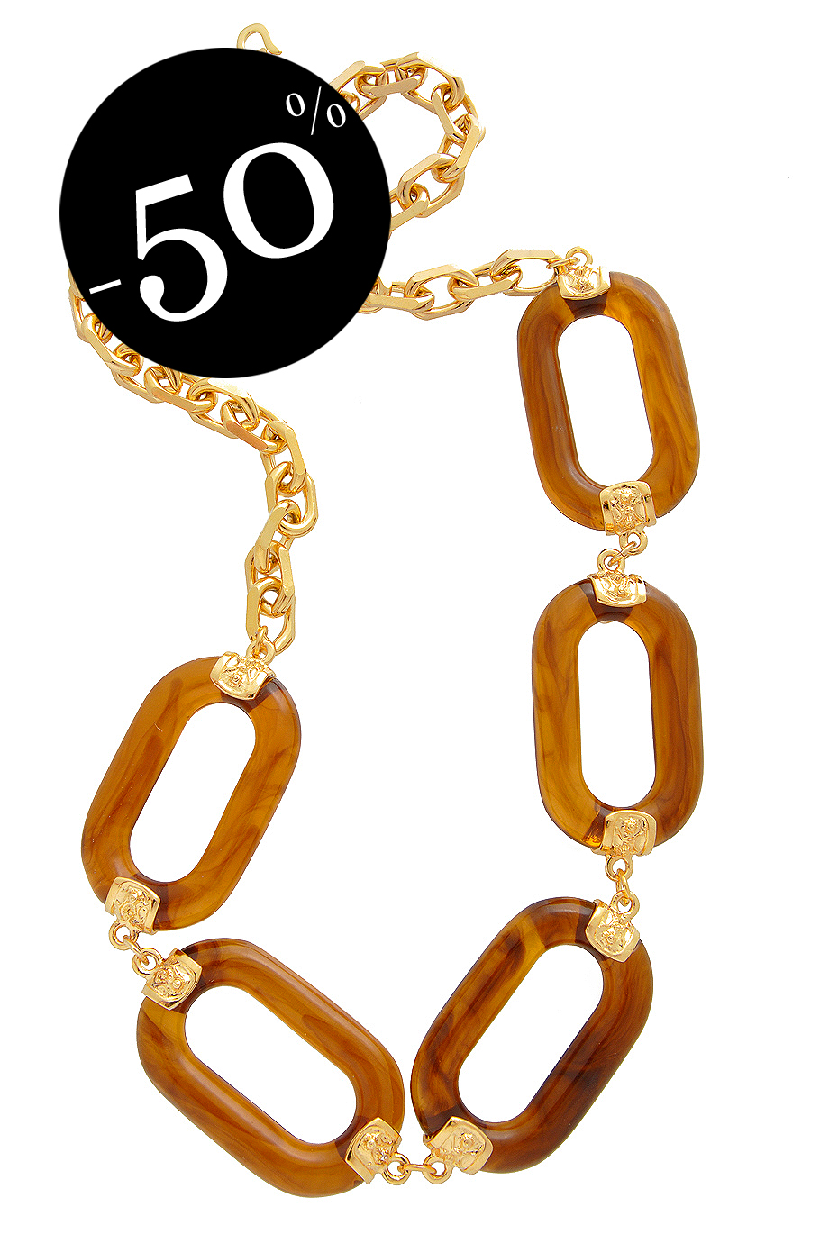KENNETH JAY LANE ADELA Gold Tortoise Link Necklace
