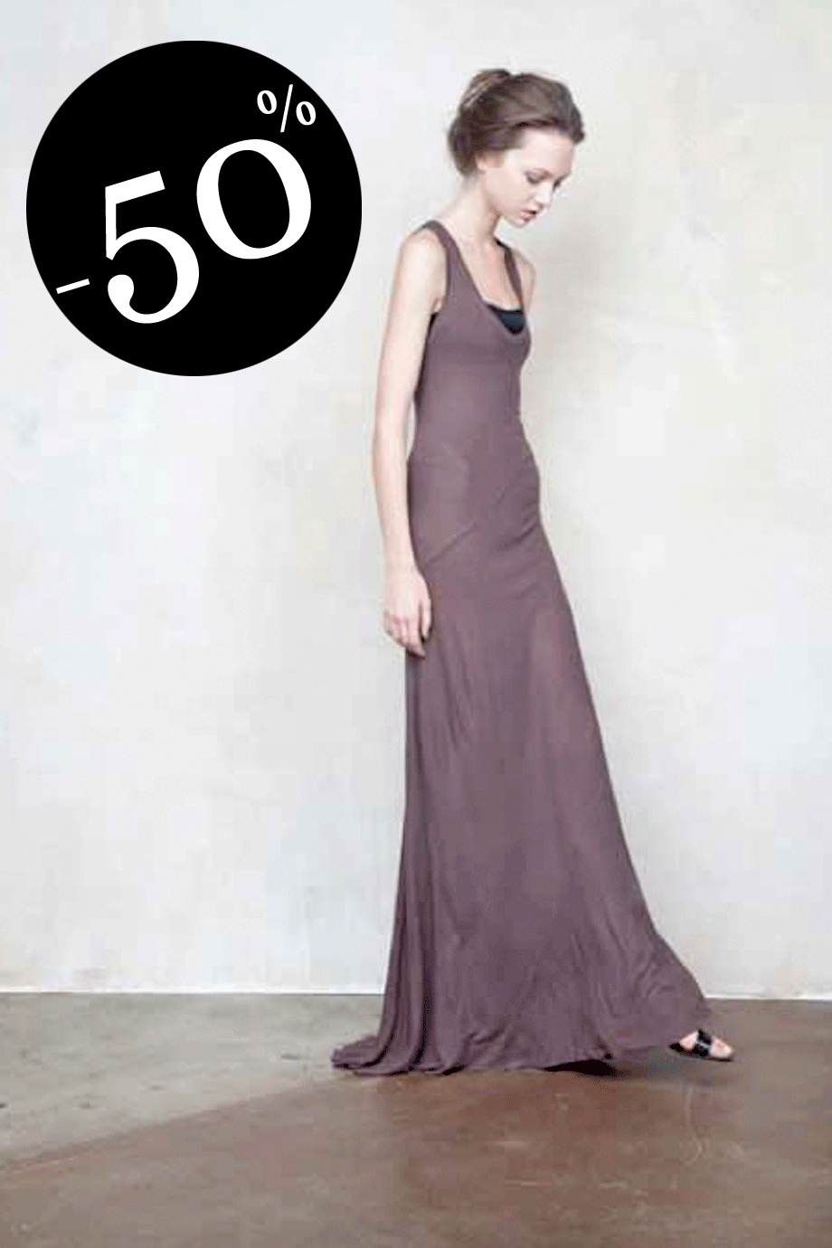 ENZA COSTA SILK RIB Twisted Brown Maxi Dress
