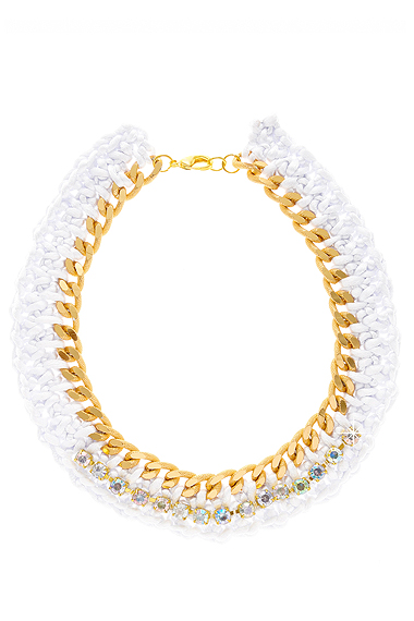 ALBERTO GALLETI ANNELIESE White Woven Necklace